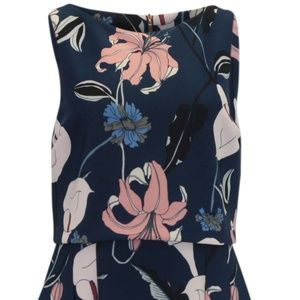 Ivanka Trump Breezy Floral Print Dress Navy